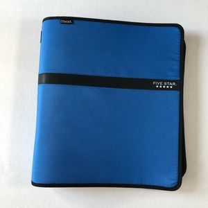 NWOT Five Star 3 Ring Binder Zipper Portfolio Blue